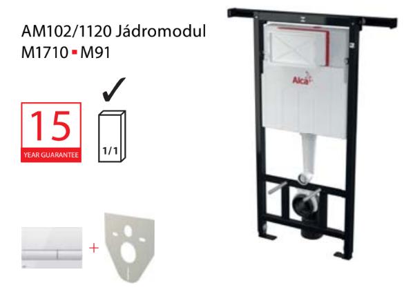 Set modul 3v1 Alcaplast AM102/1120 a tlačítko bílé M1710 Jádromodul s vhazovačem tablet P169 AM102-3