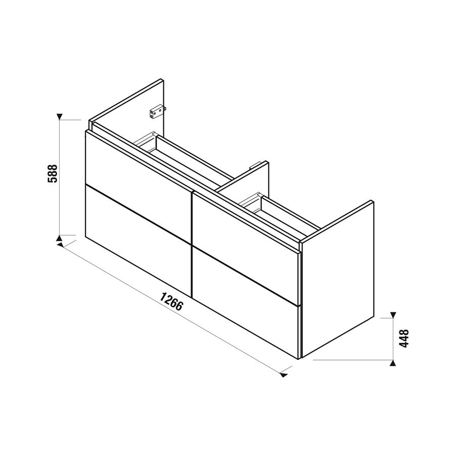 Jika MIO-N skříň BÍLÁ pod dvojumyvadlo 130 x 45 cm, 4 zásuvky H40J7184015001 # 2242884625